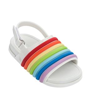 MINI BEACH SLIDE SANDAL RAINBOW White Colorful