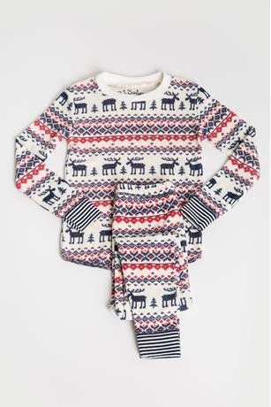 TODDLER FAIR ISLE MOOSE THERMAL JAMMIE SET