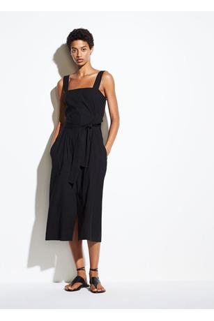 WOMENS BELTED WIDE STRAP DRESS
