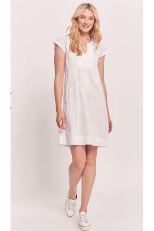 FAITH S/S SOLID EMBROIDERED DRESS