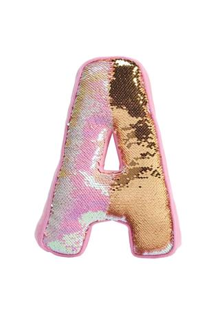 A INITIAL REVERSIBLE SEQUIN PILLOW