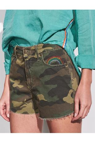 CAMO EMBROIDERED RELAXED CUT OFF SHORTS