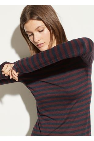 HEATHER STRIPE L/S CREW