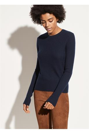 DIRECTIONAL RIB CASHMERE PULLOVER