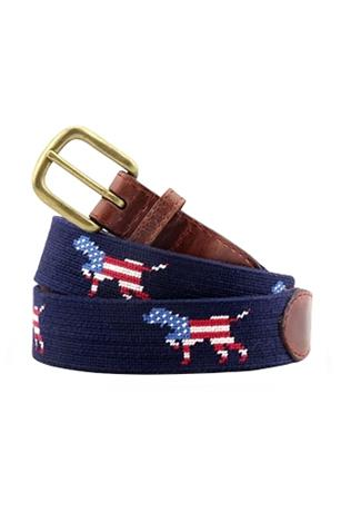 Patriotic Dog on Point Needlepoint Belt