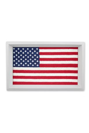 Big American Flag Needlepoint Valet Tray
