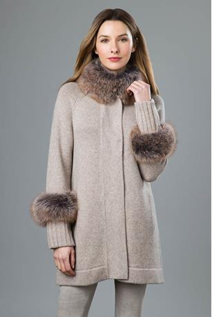 FUR TRIM SWING CARDIGAN