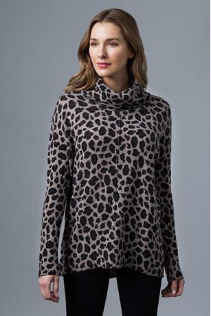 LEOPARD PRINT EXPOSED SEAM COWL