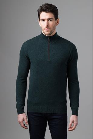 SUEDE TRIM QTR ZIP MOCK