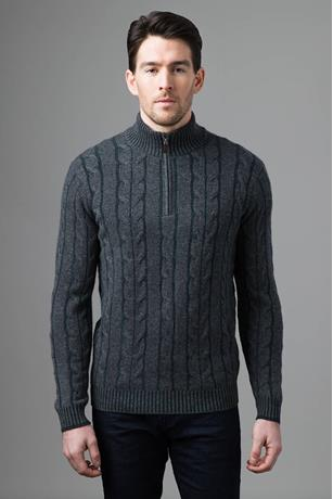 PLATED CABLE QTR ZIP MOCK