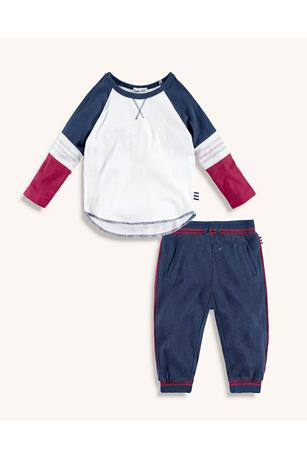 BABY BOY RAGLAN TEE AND PIPED JOGGER SET