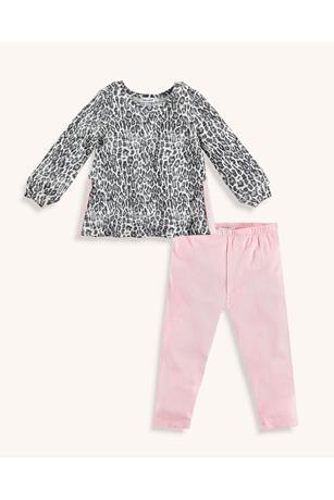 BABY GIRL LEOPARD PRINT LONG SLEEVE TEE SET