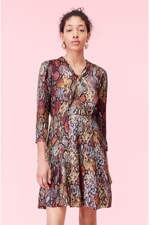 WATERCOLOR SNAKE HAMMERED SILK DRESS