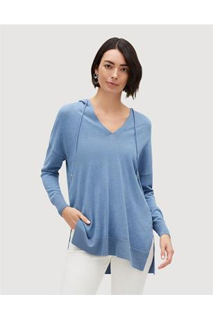 COTTON CREPE YARN RELAXED HOODIE