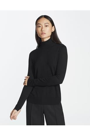 FINE GAUGE SPLIT STAND COLLAR SWEATER