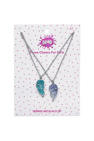 BEST FRIENDS GLITTER HEART NECKLACE SET