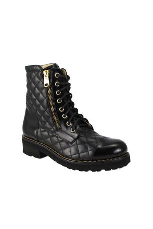 TIFFANY QUILTED ZIP COMBAT BOOTIE