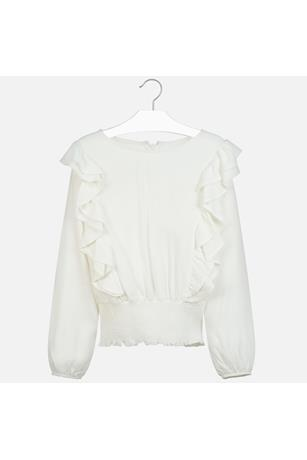 RUFFLED BANDED BLOUSE