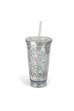 LIGHT UP GLITTER CUP WITH STRAW
