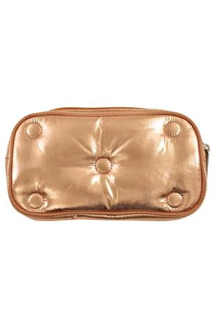 COPPER TUFTED METALLIC SMALL COSMETIC BAG