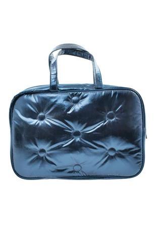 BLUE TUFTED METALLIC LARGE COSMETIC BAG
