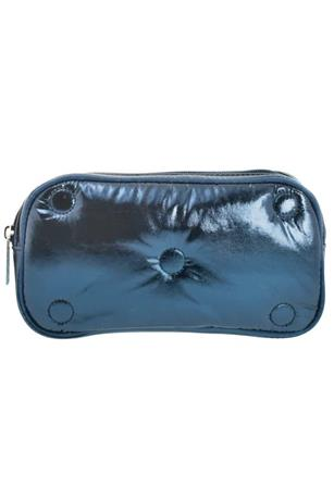 BLUE TUFTED METALLIC SMALL COSMETIC BAG