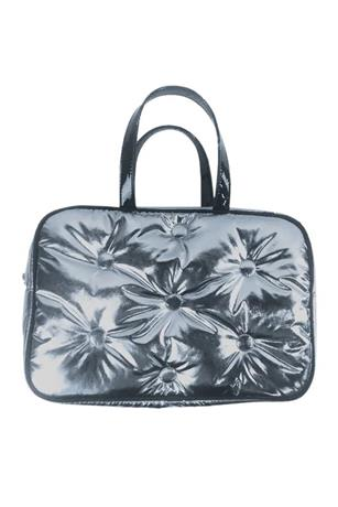 CHROME TUFTED METALLIC LARGE COSMETIC BAG