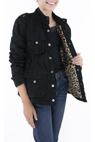 MILITARY FUR LEOPARD JACKET