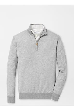NEEDLE-STRIPE QUARTER-ZIP SWEATER