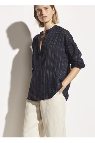 Drape Striped Pullover Blouse