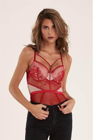 Fishnet Mesh Bodysuit RED
