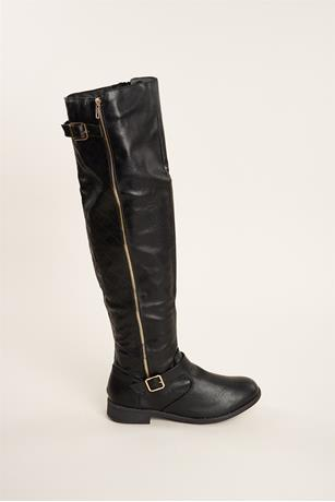 Quilted Buckled Boots