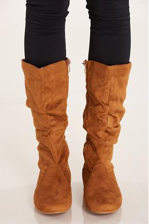 Faux Suede Slouchy Boots TAN