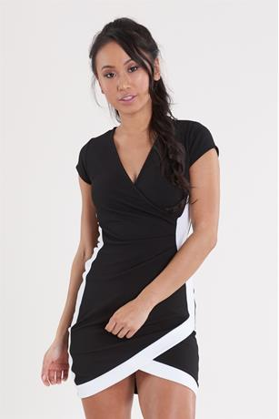 Wrap Contrast Dress BLKWHT
