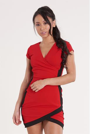 Wrap Contrast Dress RED