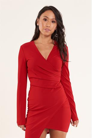 Solid Wrap Dress RED