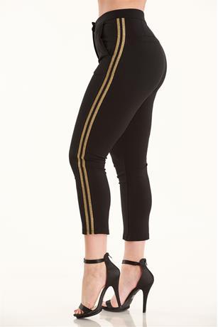 Metallic Striped Pants BLACK