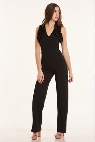 Ruffle Shoulder Jumpsuit BLACK
