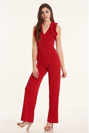 Ruffle Shoulder Jumpsuit RED