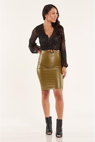 Faux Leather Skirt OLIVE