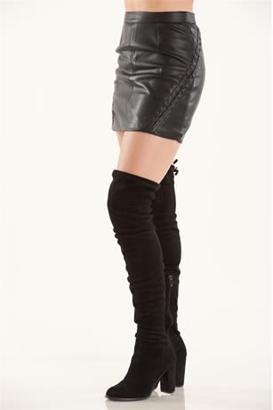 Lace Up Side Skirt BLACK