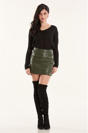 Lace Up Side Skirt OLIVE