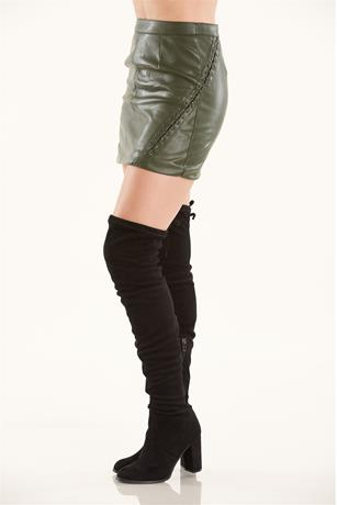 Lace Up Side Skirt OLIVE