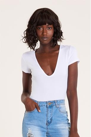Low U Neck Bodysuit WHITE