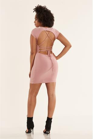 Lace-Up Back Dress BLUSH