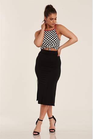 Side Stripe Maxi Skirt BLACK