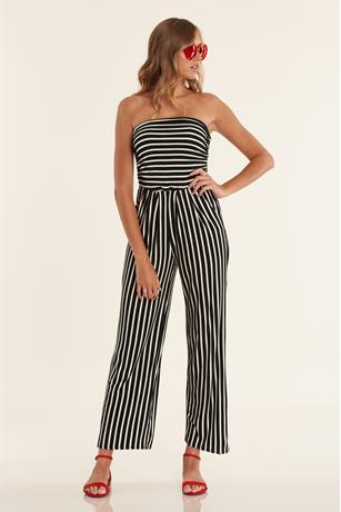 Stripe Ruched Jumpsuit