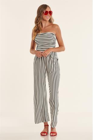 Stripe Ruched Jumpsuit WHTBLK