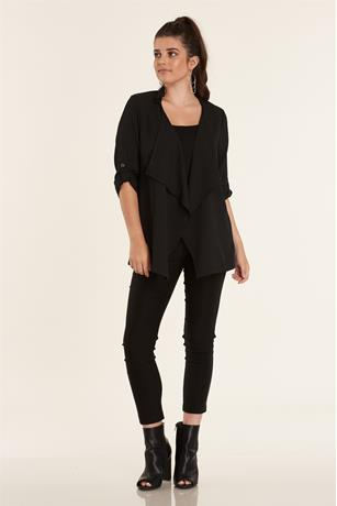 Open Front Duster Jacket BLACK