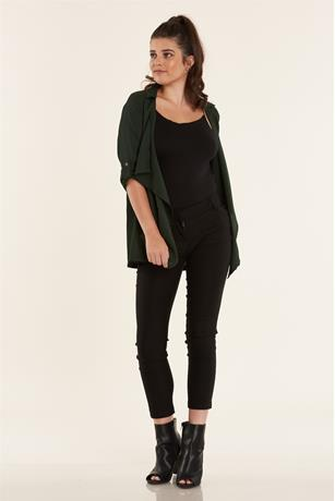 Open Front Duster Jacket DARK GREEN